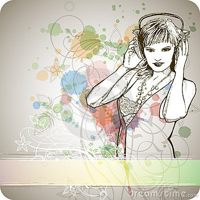 Free DJ Girl & Color Paint Royalty Free Stock Photos - 18098818