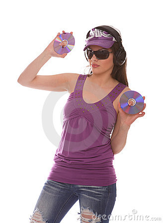 DJ Girl listening to music with cd s in her hand