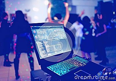 DJ laptop at party
