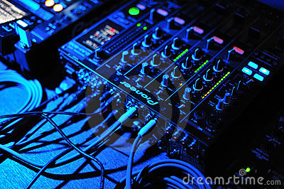 Dj mix and playing with pioneer mixer and console Editorial Stock Photo