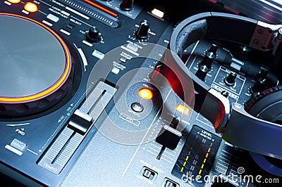 Dj mixer console illuminated