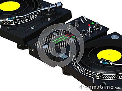 DJ mixing set close up