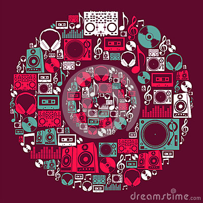 Dj Music icons disc