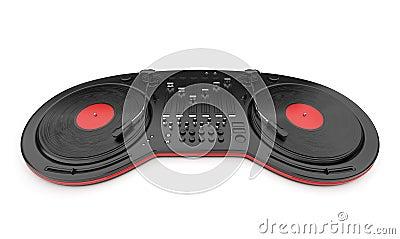 DJ music mixer control with disc 3D
