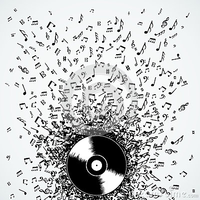 Dj Music Notes Splash Record Vinyl Royalty Free Stock
