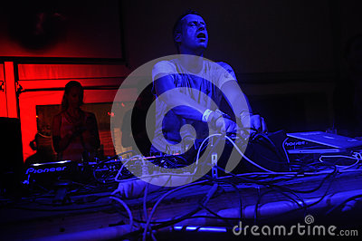 DJ Pedro Cazanova, Rave Music, Nightclub Lights Editorial Stock Photo