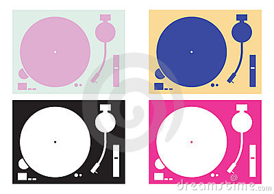 Dj record-player silhouettes