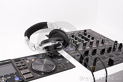 DJ s mixer and headphones