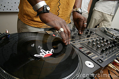 DJ spining the record