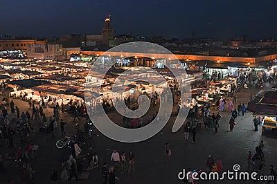 Djeema El Fna at night, Marrakech Editorial Photography