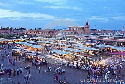 Djemaa el Fna market in Marrakesh, Morocco Editorial Photography