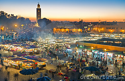 Djemaa el-Fna square at night Editorial Photography