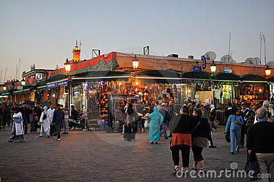 Djemaa El Fnaa square in Marrakesh Editorial Stock Photo