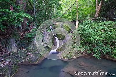 Djup skogvattenfall (den Erawan vattenfallet)