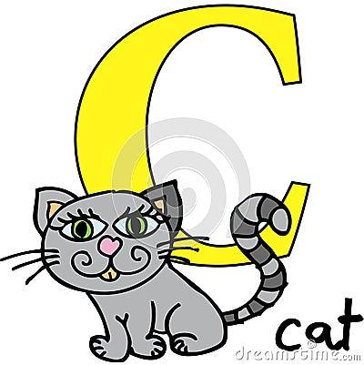Djur c katt för alfabet