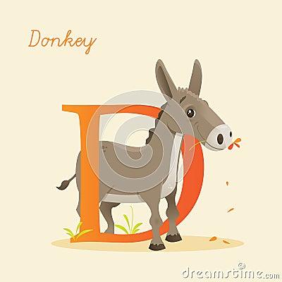 Djurt alfabet med åsnan