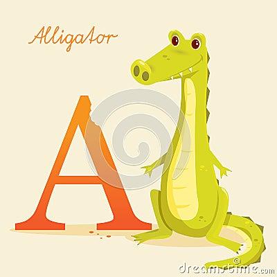 Djurt alfabet med alligatorn