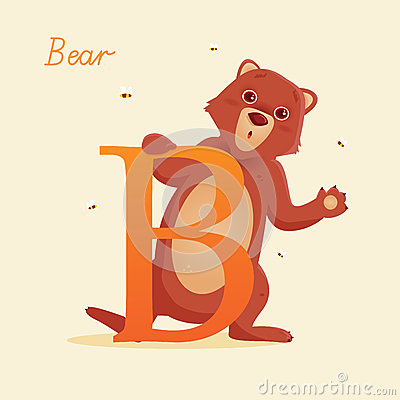 Djurt alfabet med björnen