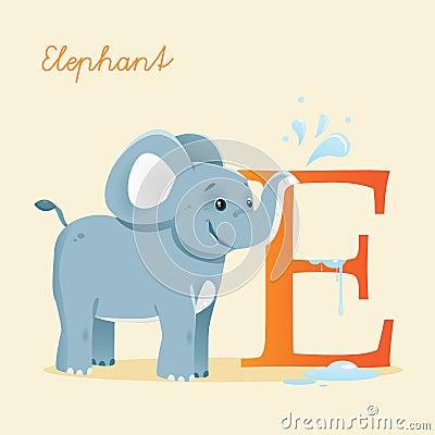 Djurt alfabet med elefanten