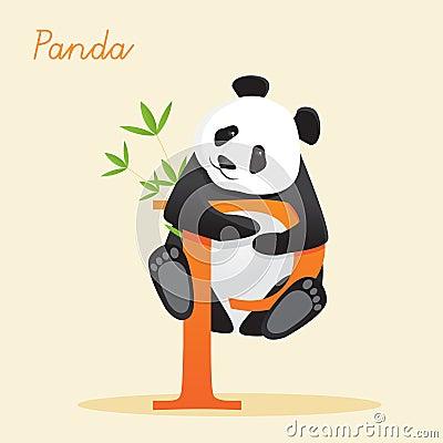 Djurt alfabet med pandaen