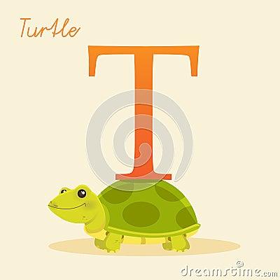 Djurt alfabet med sköldpaddan