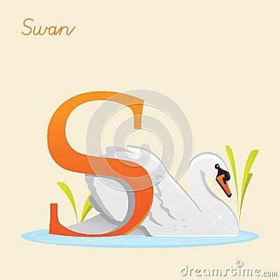 Djurt alfabet med svanen