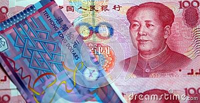 Dólar de China RMB e de Hong Kong