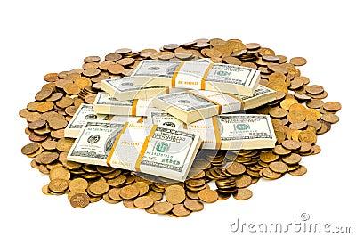 Dólares e moedas isolados