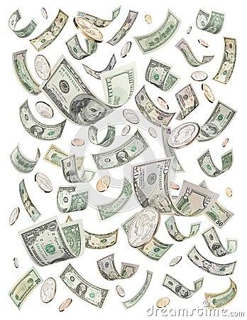 Dólares que llueven bote del dinero