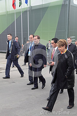 Dmitry Medvedev and Oleg Sienko Editorial Stock Photo
