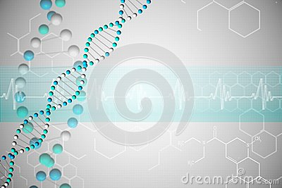 DNA helix in blue with chemical structures