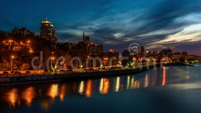Dnepropetrosk at night stock footage