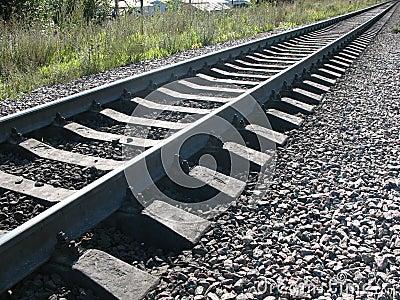 Do corredor uma estrada de ferro afastado