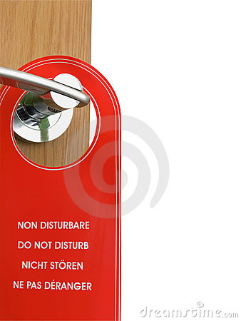 Do not disturb sign hanging on the door handle
