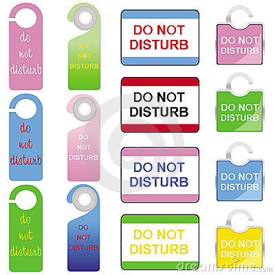 Do not disturb signs set