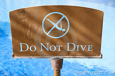 Do not dive sign