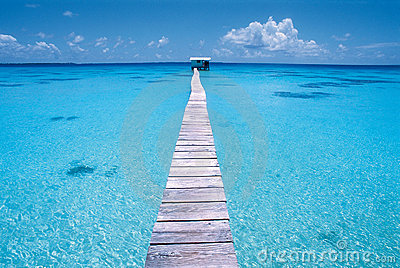 Dock on a blue lagoon, Polynesia