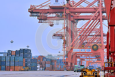 Dock and container yard in Xiamen, Fujian, China Editorial Stock Photo