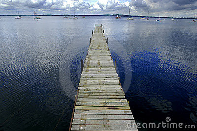 Dock Floating in Blue Water