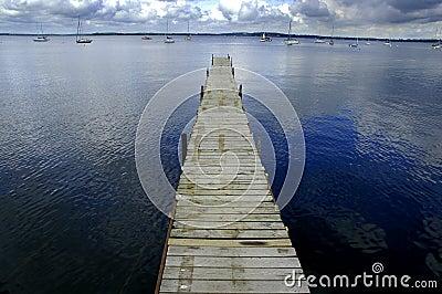 Dock Floating in Blue Water