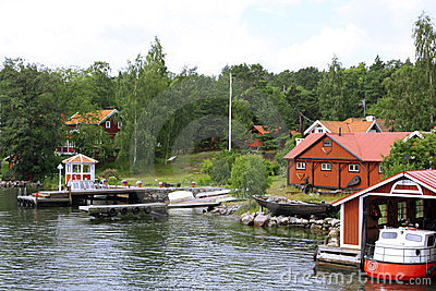 Dock on the lake in Scandinavia