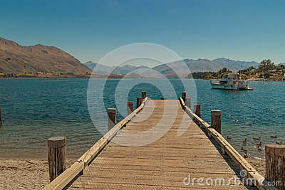 Dock on New Zealand mountain lake