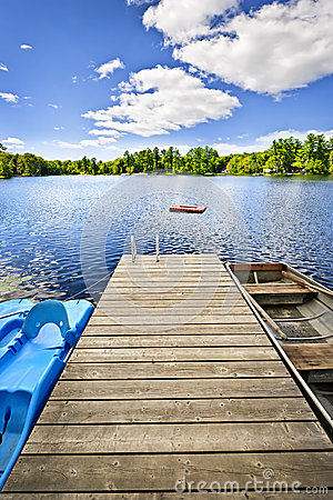 Free Dock On Lake In Summer Cottage Country Royalty Free Stock Photography - 27253237