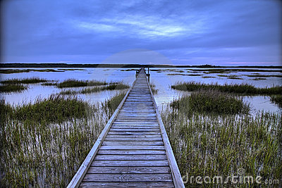 Dock over salt marsh