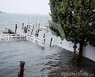 Dock underwater during Hurricane Sandy Editorial Stock Image