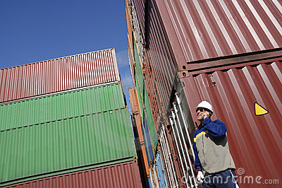 Dock worker and containers
