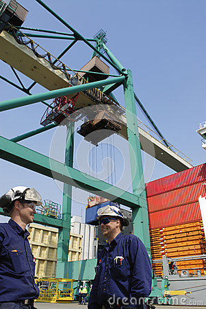 Dock workers and container port
