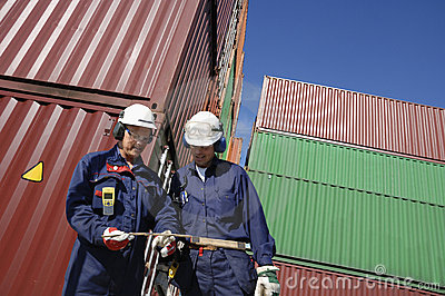 Dock workers and containers