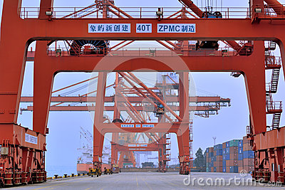 Dock working area, Xiamen, Fujian, China Editorial Stock Image