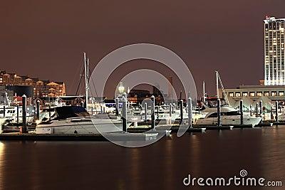 Docked Boats in Baltimore Inner Harbor